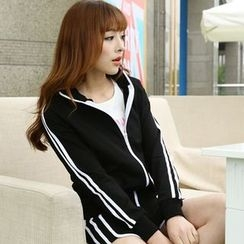QLand - Striped Sport Zip Jacket