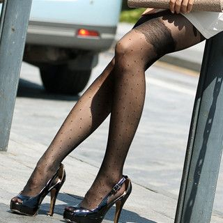 Lace Print Dotted Tights