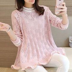 Ageha - Pointelle Knit Sweater