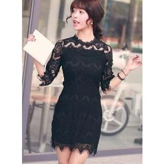 HOTPING - Elbow-Sleeve Scallop-Hem Lace Dress