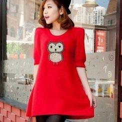 Antalie - Elbow-Sleeve Jeweled-Owl Sweater