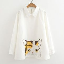 ninna nanna - Cat Embroidered Long-Sleeve Shirt