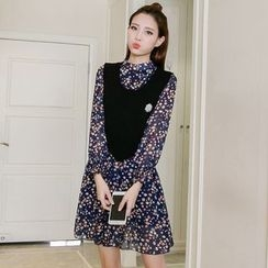 lilygirl - Set: Floral Print Long-Sleeve Chiffon Dress + Knit Vest with Brooch