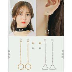soo n soo - Set of 4: Stud Earrings + Rhinestone Drop Earrings