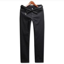 Seoul Homme - Brushed-Fleece Lined Straight-Cut Jeans