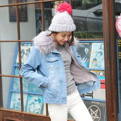 DABAGIRL - Faux-Fur Collar Distressed Denim Jacket