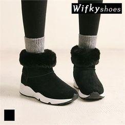 Wifky - Faux-Fur Trim Snow Boots