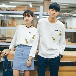 Simpair - Couple Matching Appliqué Long Sleeve T-Shirt