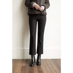 CHERRYKOKO - Brushed-Fleece Lined Semi Boot-Cut Dress Pants