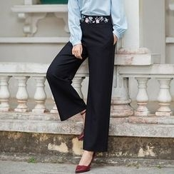 GU ZHI - Embroidered Wide-Leg Pants