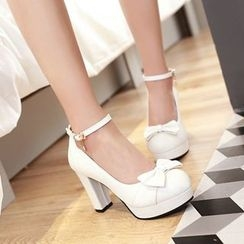 Pretty in Boots - Strapped Block Heel Pumps