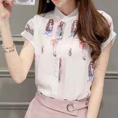 Ashlee - Set: Printed Short Sleeve Shirt + Cropped Pleated Front Pants