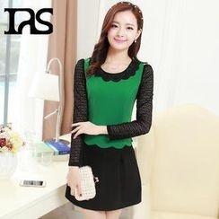 AiSun - Set: Scalloped-Hem Sheer Long-Sleeve Top + A-Line Skirt