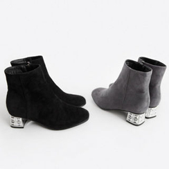 NIPONJJUYA - Láme Block-Heel Faux-Suede Ankle Boots