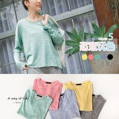 OrangeBear - Heathered Knit Boxy Sweatshirt