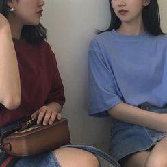 Alfie - 宽松圆领纯色短袖T恤