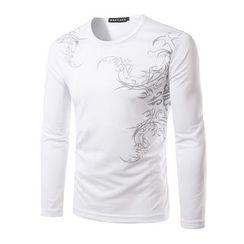 Fireon - Print Long Sleeve Crewneck T-Shirt