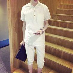 ZZP HOMME - Short-Sleeve Henley Shirt