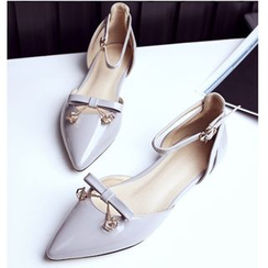 Freesia - Bow T-Strap Pointy Toe Patent Flats