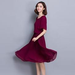 Hazie - 抽褶短袖雪紡連衣裙