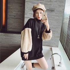 lilygirl - Fleece Panel Lantern Sleeve Sweatshirt