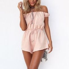 Flobo - Off-Shoulder Lace-Up Playsuit