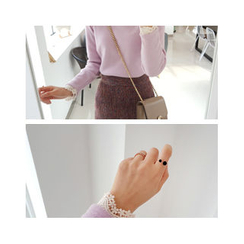 LEELIN - Lace Trim Long Sleeve Top