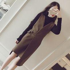 lilygirl - Set: Long-Sleeve Top + Sleeveless Knit Dress