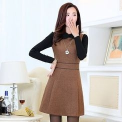 SEYLOS - Panel Collared Fleece-lined Knit Dress