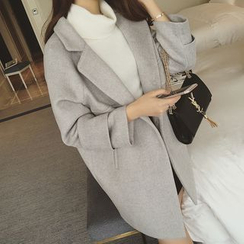 lilygirl - 純色平駁領針織大衣