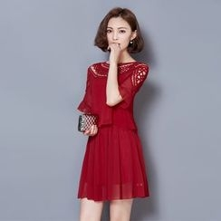 LunarS - Lace Yoke Short Sleeve Chiffon Dress