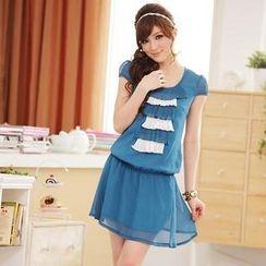 JK2 - Short-Sleeve Layered-Front Chiffon Dress