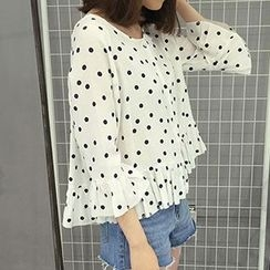 Frontline - Dotted Frilled 3/4-Sleeve Top