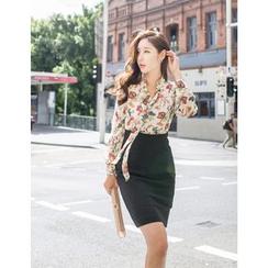 GUMZZI - Mock Two-Piece Floral Print Sheer Dress