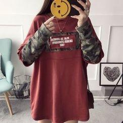 Qimi - 迷彩拼接长款套衫