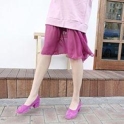 MARSHMALLOW - Maternity Lace-Hem Dress