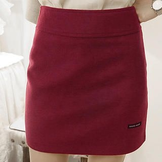 NANING9 - Wool Blend Zip-Side Miniskirt