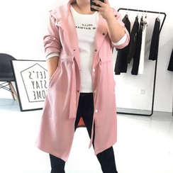 Shannon - Plain Hooded Coatdress