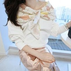 MARSHMALLOW - Maternity Ruffled Floral-Pattern Top