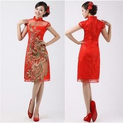 Bridal Workshop - Cap-Sleeve Embroidered Short Cheongsam