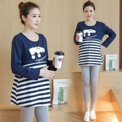 Mamaladies - Printed Stripe Maternity Tunic