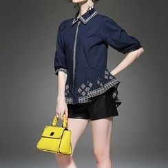 Alaroo - 3/4-Sleeve Pleated Embroidered Shirt