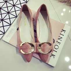 kokoin - Metal Buckle Pointy Flats