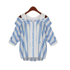 GRACI - Elbow-Sleeve Shoulder Cut Out Striped Shirt