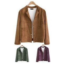 VIZZI - Faux Suede Button Jacket