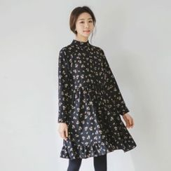 JUSTONE - Mandarin-Collar Shirred-Waist Floral Shirtdress