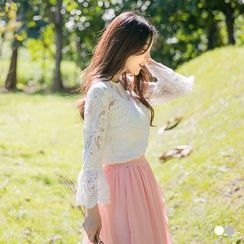 OrangeBear - Crochet Lace Bell Sleeve Top