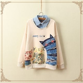 Angel Love - Cat Print Mock Two-Piece Pullover
