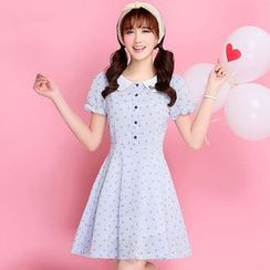 Meadowy - Embroidered Collar Bow Print Short-Sleeve Dress
