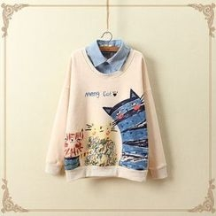 白金天使 - 貓印花假兩件套衫